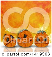 Clipart Of 3d Halloween Jackolantern Pumpkins On A Reflective Surface Over Orange Watercolor Royalty Free Illustration by KJ Pargeter