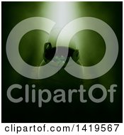 Clipart Of A 3d Halloween Cauldron With Eyeballs In Green Lighting Royalty Free Illustration