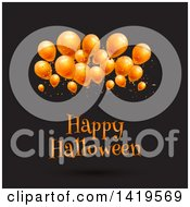 Clipart Of A Happy Halloween Greeting Under 3d Party Balloons On Black Royalty Free Vector Illustration