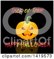 Clipart Of A Halloween Jackolantern Pumkin With Text On Black Royalty Free Vector Illustration by KJ Pargeter