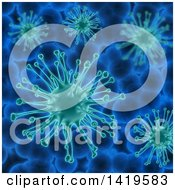 Clipart Of A Background Of 3d Virus Cells Royalty Free Illustration by KJ Pargeter