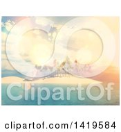 Clipart Of A 3d Tropical Island With Palm Trees At Sunset Royalty Free Illustration