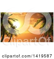 Clipart Of A 3d Orange Tropical Ocean Sunset With Palm Trees Royalty Free Illustration
