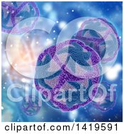 Clipart Of A Background Of 3d Dna Strands And Zika Virus Cells Royalty Free Illustration