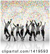 Clipart Of A Group Of Silhouetted Dancers With Colorful Confetti Royalty Free Vector Illustration