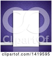 Clipart Of A Purple Damask Wallpapered Wall With A Blank Canvas Royalty Free Vector Illustration