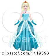 Clipart Of A Beautiful Blond Princess In A Blue Winter Gown Royalty Free Vector Illustration