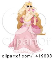 Beautiful Blond Princess In A Pink Gown Sitting And Holding A Flower