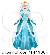 Clipart Of A Beautiful Blond Princess In A Blue Winter Cloak And Gown Royalty Free Vector Illustration