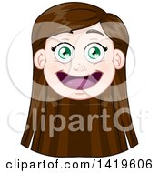 Clipart Of A Happy Long Brunette Haired Green Eyed Caucasian Girls Face Royalty Free Vector Illustration
