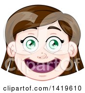 Clipart Of A Happy Short Brunette Haired Green Eyed Caucasian Girls Face Royalty Free Vector Illustration