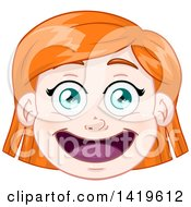 Clipart Of A Happy Short Red Haired Green Eyed Caucasian Girls Face Royalty Free Vector Illustration by Liron Peer