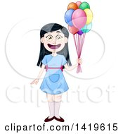 Happy Black Haired Girl In A Blue Dress Holding Party Balloons