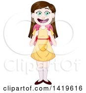 Poster, Art Print Of Happy Brunette Caucasian Girl Wearing A School Backpack And A Yellow Dress