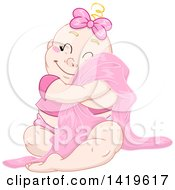 Clipart Of A Cartoon Happy Blond Haired Baby Girl Cuddling With Her Blanket Royalty Free Vector Illustration