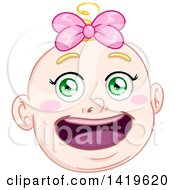 Poster, Art Print Of Cartoon Happy Blond Haired Green Eyed Baby Girls Face