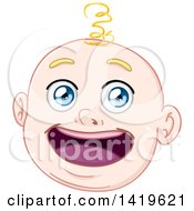 Cartoon Happy Blond Haired Blue Eyed Baby Boys Face