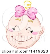 Cartoon Happy Blond Haired Baby Girls Face
