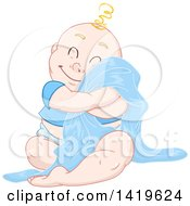 Clipart Of A Cartoon Happy Blond Haired Baby Boy Cuddling With His Blanket Royalty Free Vector Illustration