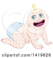 Cartoon Happy Blond Haired Baby Boy Crawling