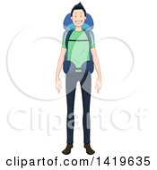 Cartoon Happy Casual Man Wearing A Hiking Backpack