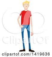 Cartoon Mad Casual Blond Caucasian Man Wearing A Red T Shirt
