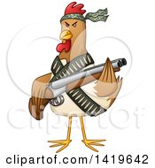 Clipart Of A Tough Chicken Fighter Holding A Shotgun Royalty Free Vector Illustration