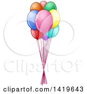 Clipart Of A Bundle Of Colorful Party Balloons Royalty Free Vector Illustration