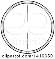 Clipart Of A Black And White Round Rifle Or Sniper Scope Royalty Free Vector Illustration by Liron Peer