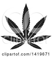 Clipart Of A Black And White Marijuana Pot Leaf Royalty Free Vector Illustration by cidepix