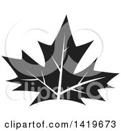 Clipart Of A Black And White Maple Leaf Royalty Free Vector Illustration by cidepix