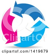 Clipart Of Pink And Blue Recycle Arrows Royalty Free Vector Illustration by cidepix