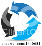 Clipart Of Black And Blue Recycle Arrows Royalty Free Vector Illustration by cidepix