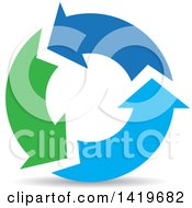 Clipart Of Green And Blue Recycle Arrows Royalty Free Vector Illustration by cidepix