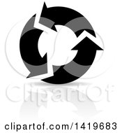 Clipart Of Black And White Recycle Arrows And A Reflection Royalty Free Vector Illustration by cidepix