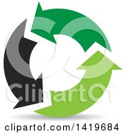 Clipart Of Black And Green Recycle Arrows Royalty Free Vector Illustration by cidepix