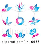 Clipart Of Plant Leaves A Flower And Recycle Arrows In Blue And Pink With Shadows Royalty Free Vector Illustration by cidepix