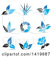 Clipart Of Plant Leaves A Flower And Recycle Arrows In Black And Blue With Shadows Royalty Free Vector Illustration by cidepix