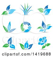 Clipart Of Plant Leaves A Flower And Recycle Arrows In Blue And Green With Shadows Royalty Free Vector Illustration by cidepix