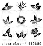 Clipart Of Plant Leaves A Flower And Recycle Arrows In Black And White With Shadows Royalty Free Vector Illustration by cidepix