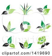 Clipart Of Black And Green Plant Leaf And Eco Designs Royalty Free Vector Illustration by cidepix