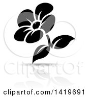 Clipart Of A Black And White Flower With A Shadow Royalty Free Vector Illustration by cidepix