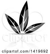 Clipart Of Black And White Plant Leaves With A Reflection Royalty Free Vector Illustration by cidepix