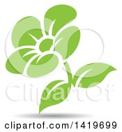 Clipart Of A Green Flower With A Shadow Royalty Free Vector Illustration