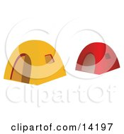 Red And Yellow Tents At A Campground Clipart Illustration