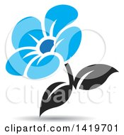 Clipart Of A Blue And Black Flower With A Shadow Royalty Free Vector Illustration by cidepix