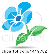 Clipart Of A Blue And Green Flower With A Shadow Royalty Free Vector Illustration by cidepix