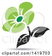 Clipart Of A Black And Green Flower With A Shadow Royalty Free Vector Illustration