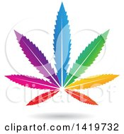 Clipart Of A Colorful Marijuana Pot Leaf Royalty Free Vector Illustration