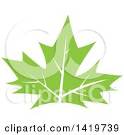 Clipart Of A Green Maple Leaf Royalty Free Vector Illustration by cidepix